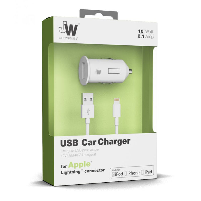 Just Wireless 2.1A Lightning Car Charger in White