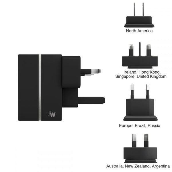 Just Wireless 2.1A Worldwide USB Travel Charger in Black