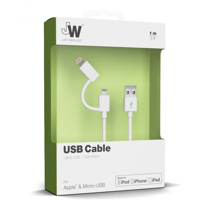 Just Wireless 1m Lightning and Micro USB Charge and Sync Cables in White