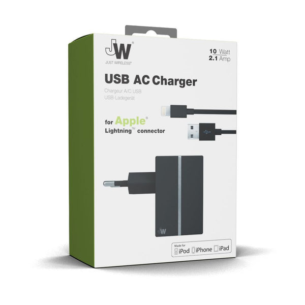 Just Wireless 2.1A EU Lightning Travel Charger in Black
