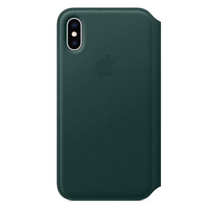 Apple iPhone X iPhone XS Leather Folio Back Case Cover - Forest Green