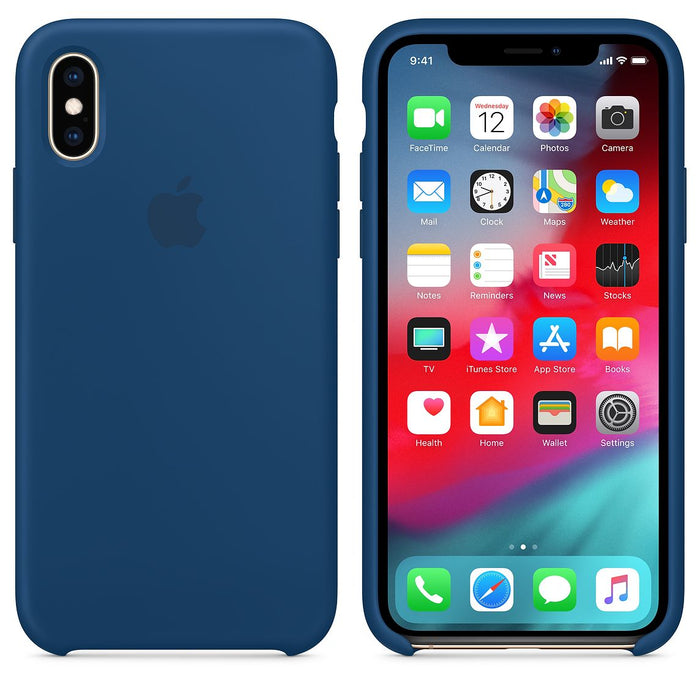 Official Apple iPhone X iPhone XS Silicone Back Case Cover - Horizon Blue
