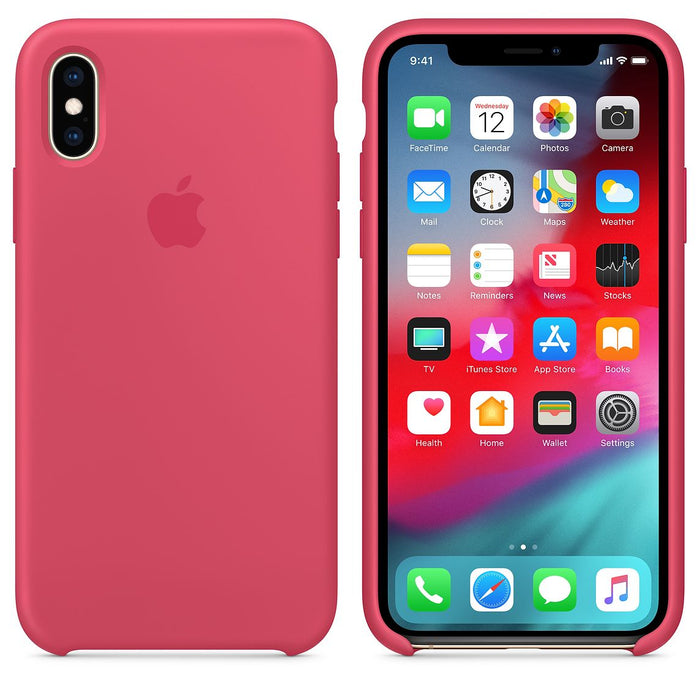 Official Apple iPhone X iPhone XS Silicone Back Case Cover - Hibiscus