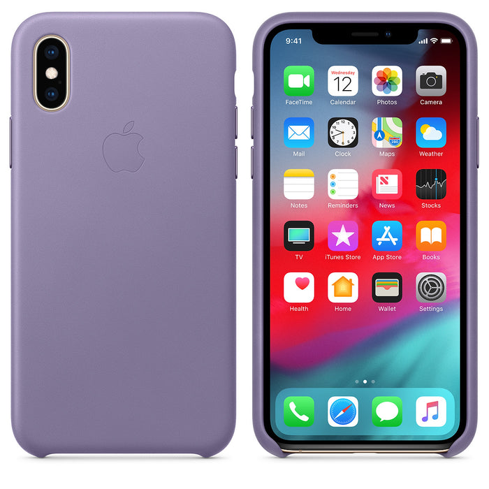 Official Apple iPhone X / iPhone XS Leather Back Case Cover - Lilac