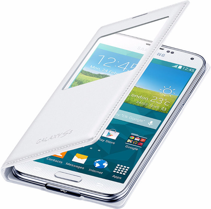 wholesale dealer 025b0 67ea9 Official Samsung Galaxy S5 White S-View Flip Case Cover - EF-CG900BWEG