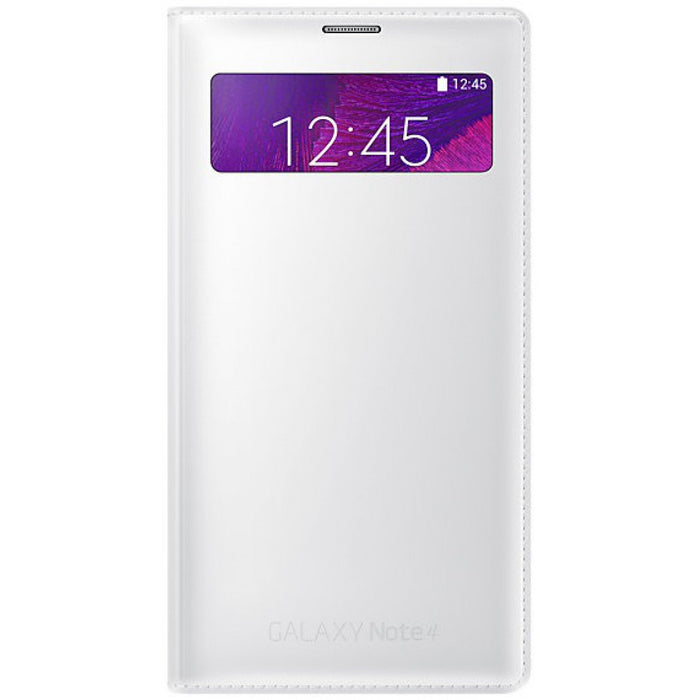 Official Samsung Galaxy Note 4 S-View White Wallet Flip Case Cover EF-EN910FTEGWW