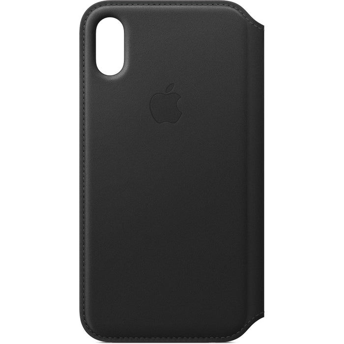 Official Apple iPhone X XS Leather Folio Back Case Cover - Black