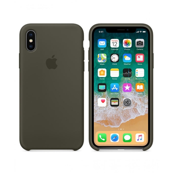 Official Apple iPhone X iPhone XS Silicone Back Case Cover - Dark Olive
