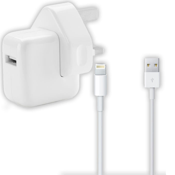 Genuine Apple iPad Mains Plug Charger + Lightning Data Sync Cable