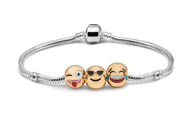 Emoji Smiley 3 Charm Bracelet 18K Gold Plated
