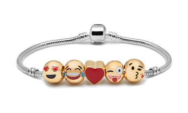 Emoji Smiley 5 Charm Bracelet 18K Gold Plated