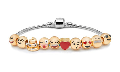 Emoji Smiley 10 Charm Bracelet 18K Gold Plated