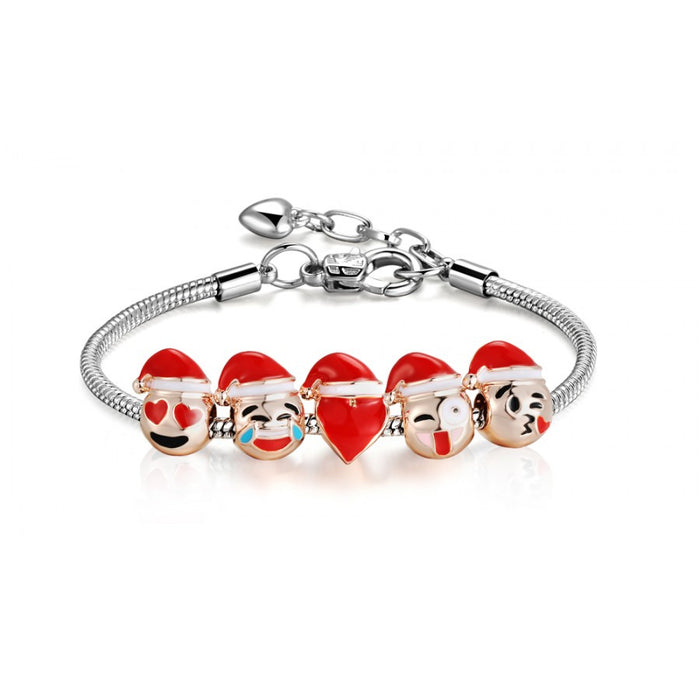 Emoji Christmas Smiley Charm Bracelet 18K Gold Plated - 5 Charm