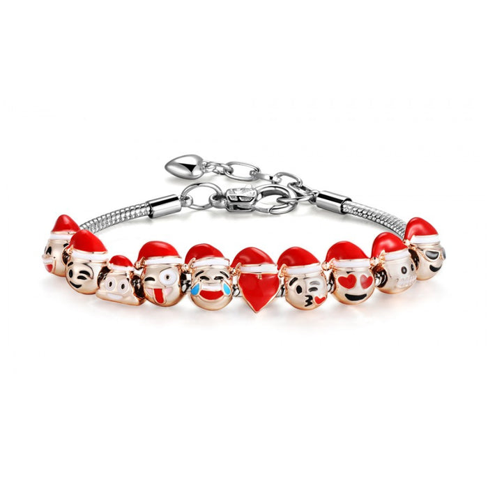 Emoji Christmas Smiley Charm Bracelet 18K Gold Plated - 10 Charms