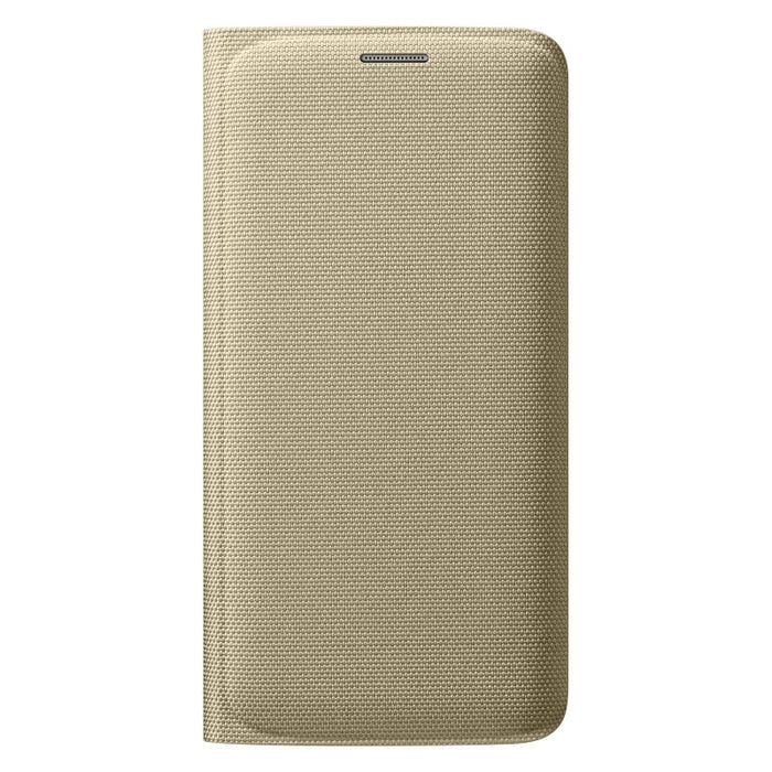 Official Samsung Galaxy S6 Edge Flip Wallet Fabric Cover - Gold