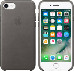 Official Apple iPhone 7 8 Leather Back Case Cover - Storm Grey