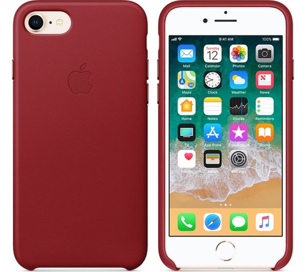 d7dfc8f082 Official Apple iPhone 7 8 Leather Back Case Cover - Red (PRODUCT RED) — Doohickey  Hut