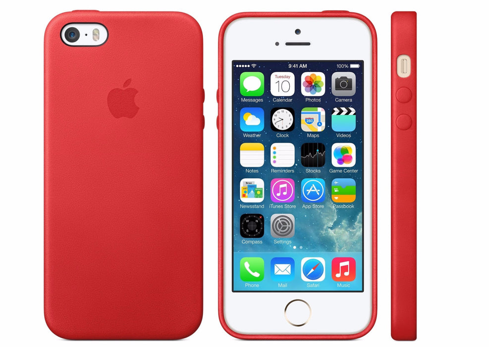 Official Apple Red iPhone 5S 5 SE Premium Leather Back Case Cover