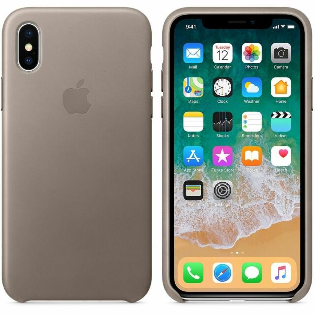 Official Apple iPhone X XS Leather Back Case Cover - Taupe