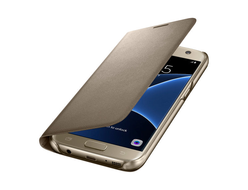 Official Samsung Galaxy S7 Edge LED Clear Case Cover - Gold