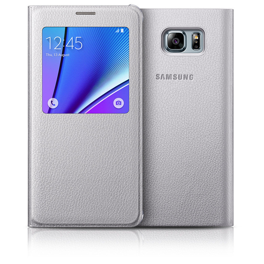 purchase cheap 5d85e 71158 Official Samsung Galaxy Note 5 S View Flip Cover Case - Silver