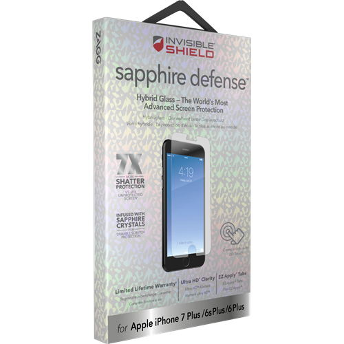 brand new 22539 3a7b7 Zagg InvisibleShield Sapphire Defense Screen Protector for iPhone 6S / 7 /  8 Plus