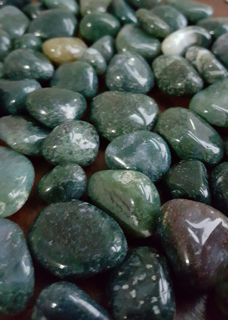 Tumbled Green Moss Agate