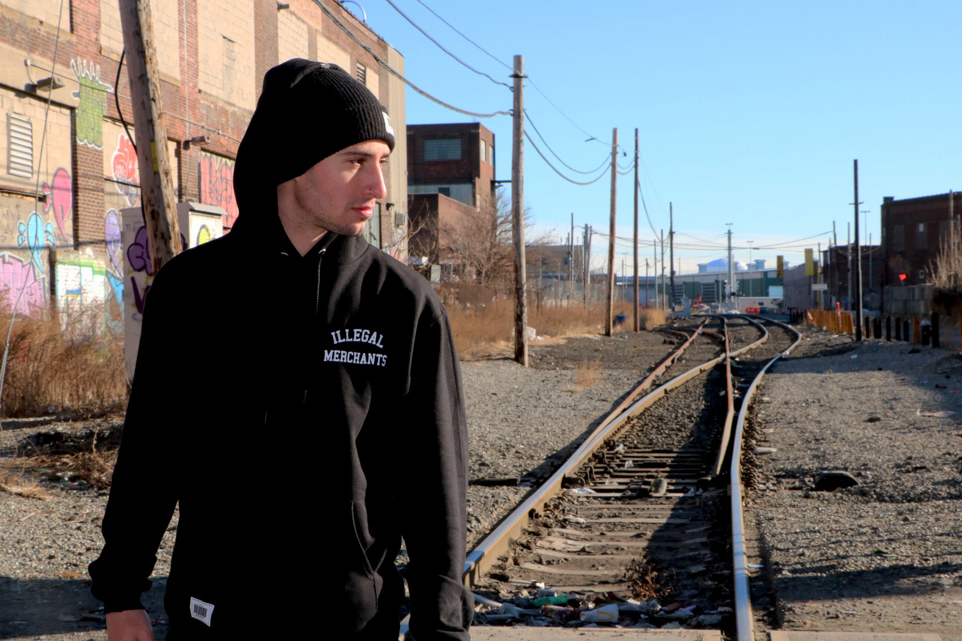 V4 New York Illegal Merchants Hoody in Black V4NY