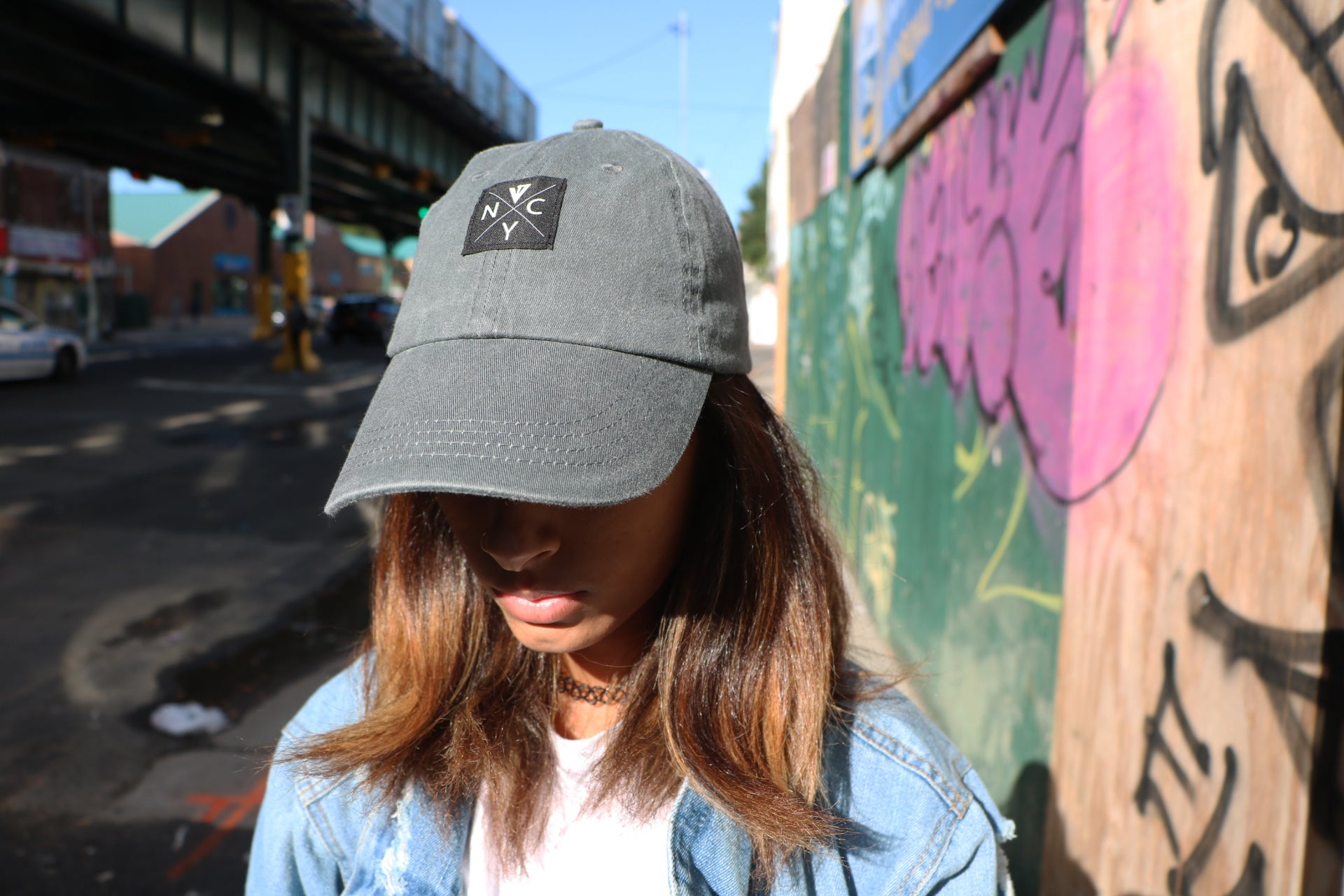 V4NY's NYC Hardcore Dad Hat in Stone Grey
