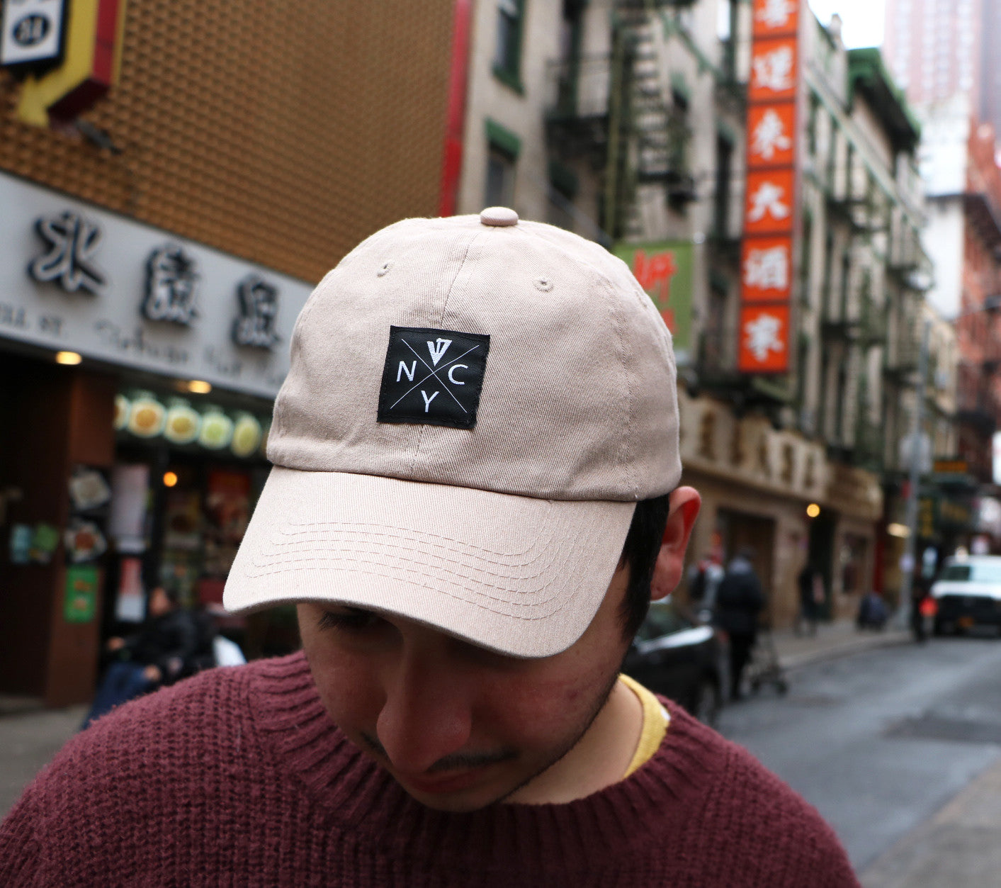 NYC Hardcore Khaki Cap in Chinatown