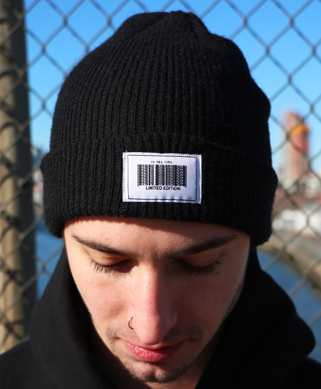 Product Shot of Barcode Beanie from V4NY