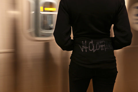 Back Side View of the Trademark Hoody On Essex Street in New York City.