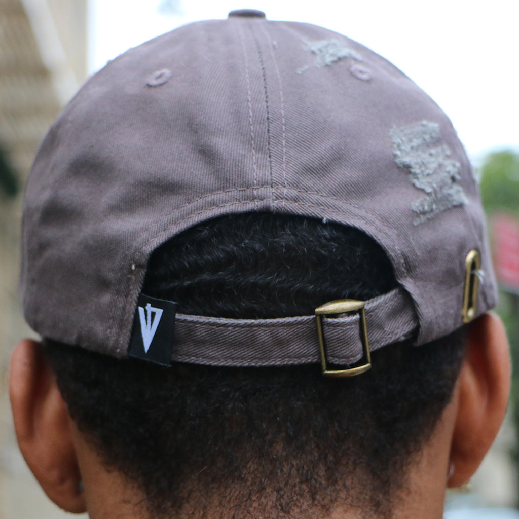 Another Box Logo Distressed Cap in Charcoal (Back)