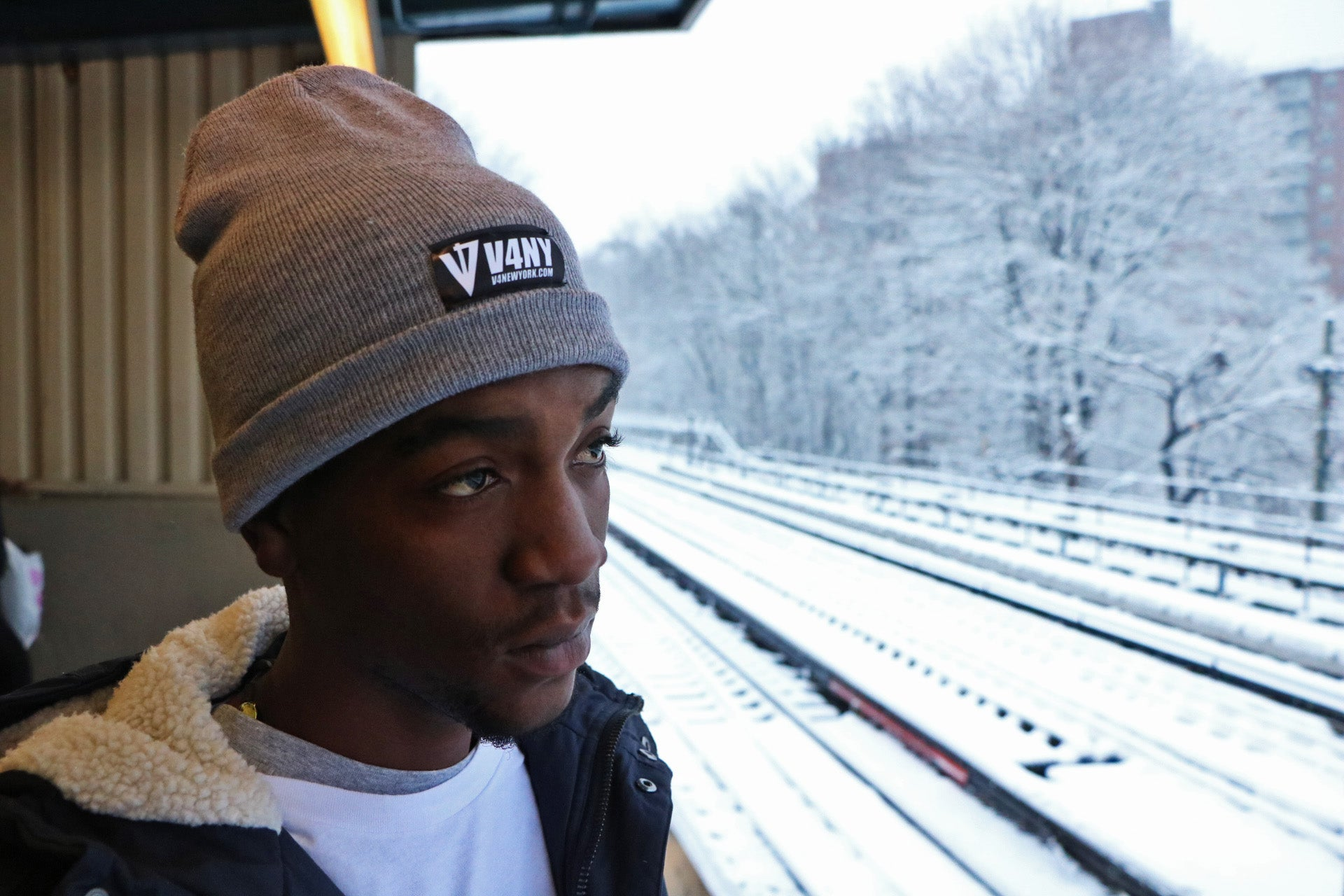 V4NY NYC Hardcore Reversible Beanie in Grey