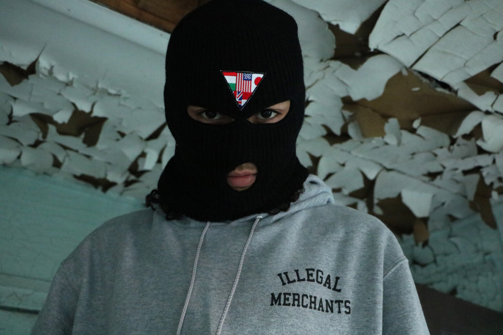 V4NY Smugglers United Ski Mask x Illegal Merchants Grey Hoody ftp