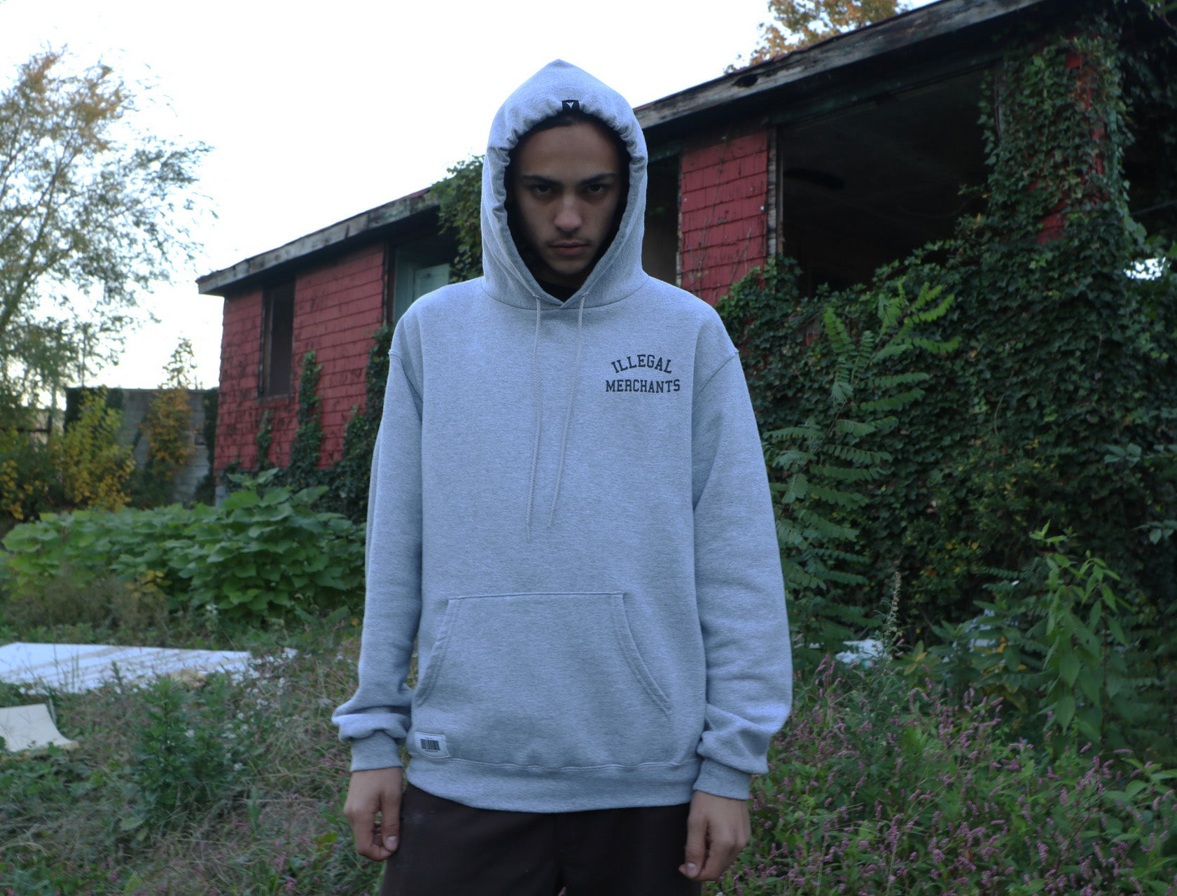 V4NY Grey Illegal Merchants Hoody Front supreme