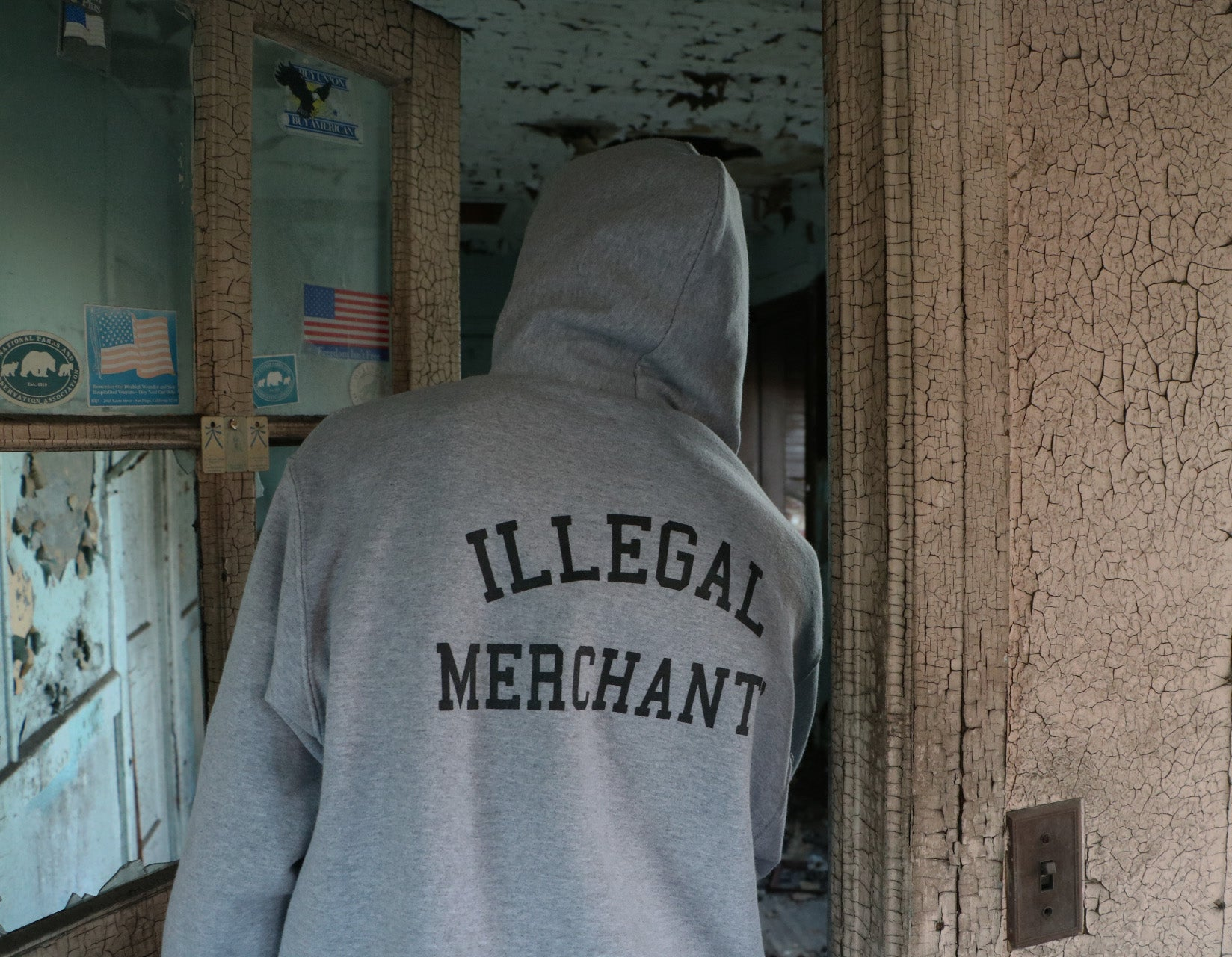V4NY Grey Illegal Merchants Hoody Streetwear