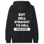 V4NY Buy Sell Straight to Hell Champion Black Hoodie Streetwear Back