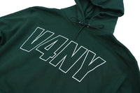 V4NY Outline Screen Print on Front of Hoodie