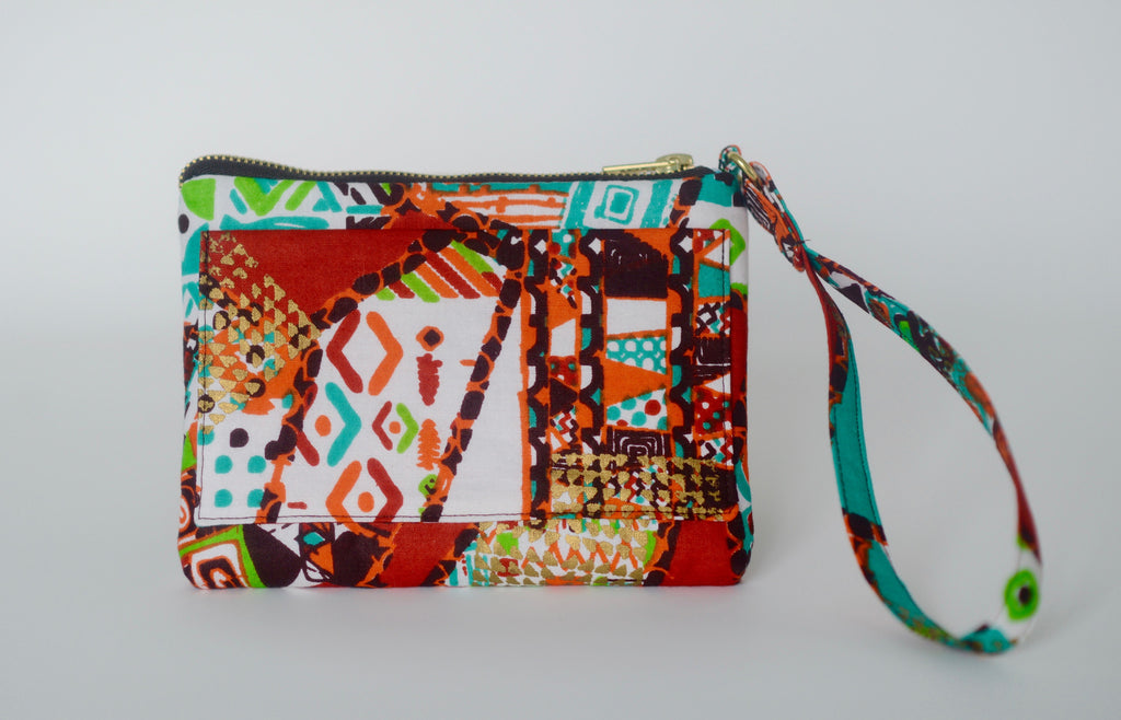 Omote (Wristlet) - Brown/Teal/Orange