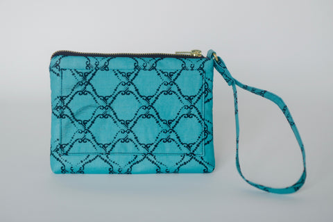 Leather Bottom Udeme (Clutch) - Pink/Blue