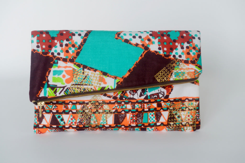 Udeme (Clutch) - Orange/Teal/Brown