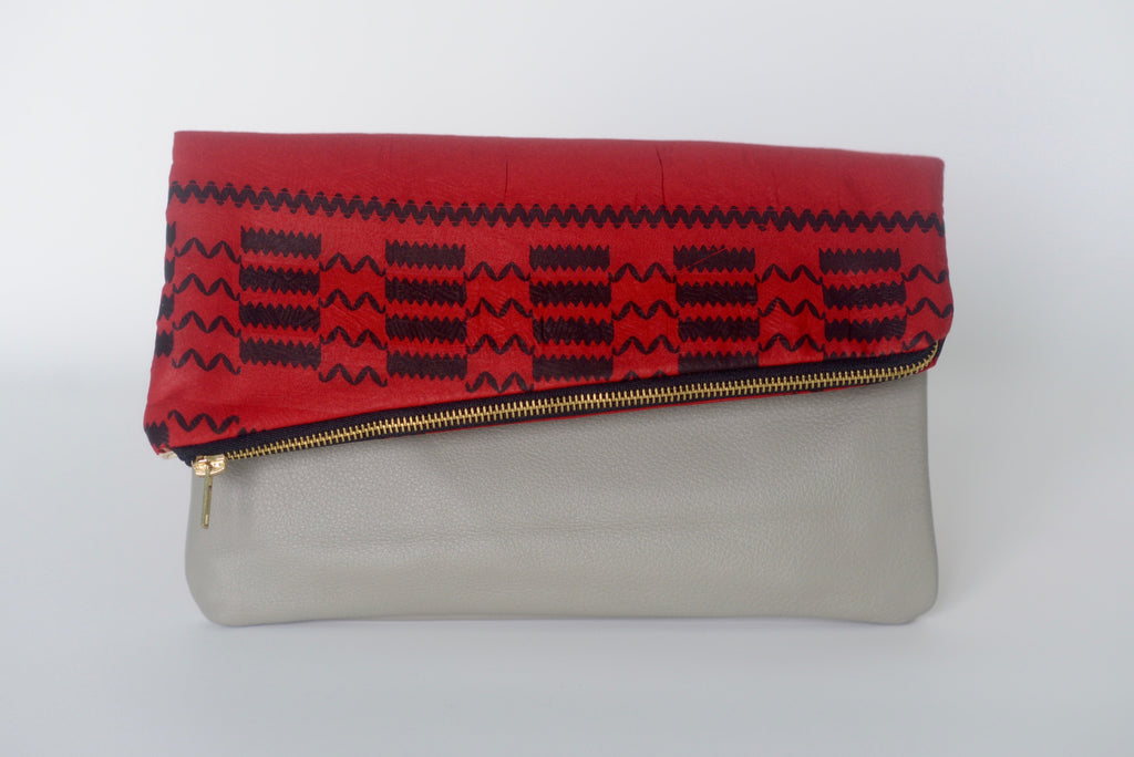 Leather Bottom Udeme (Clutch) - Black/Red