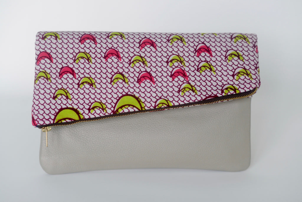 Leather Bottom Udeme (Clutch) - Pink/Green