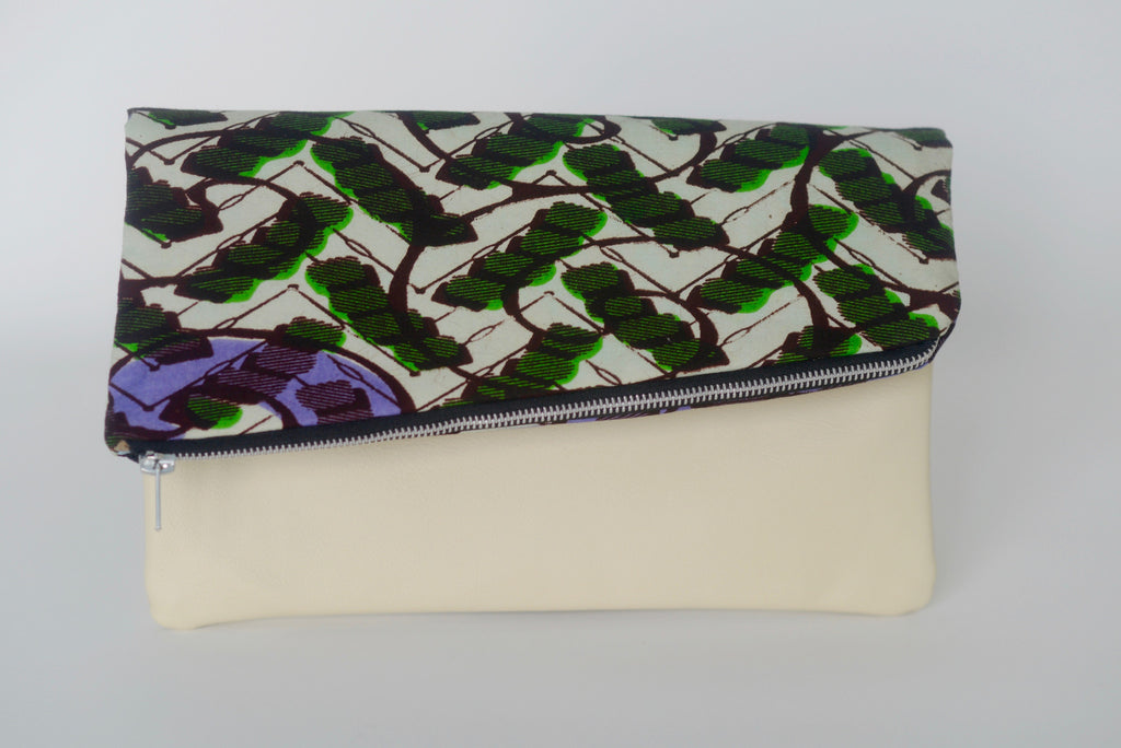 Leather Bottom Udeme (Clutch) - Purple/Green