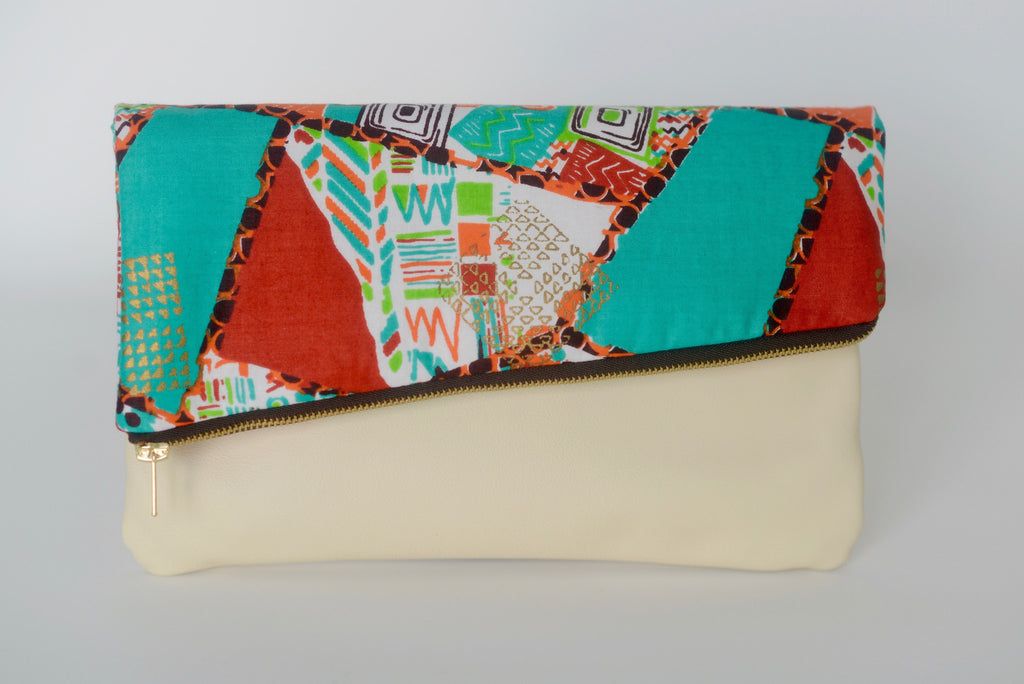 Leather Bottom Udeme (Clutch) - Brown/Teal/Orange