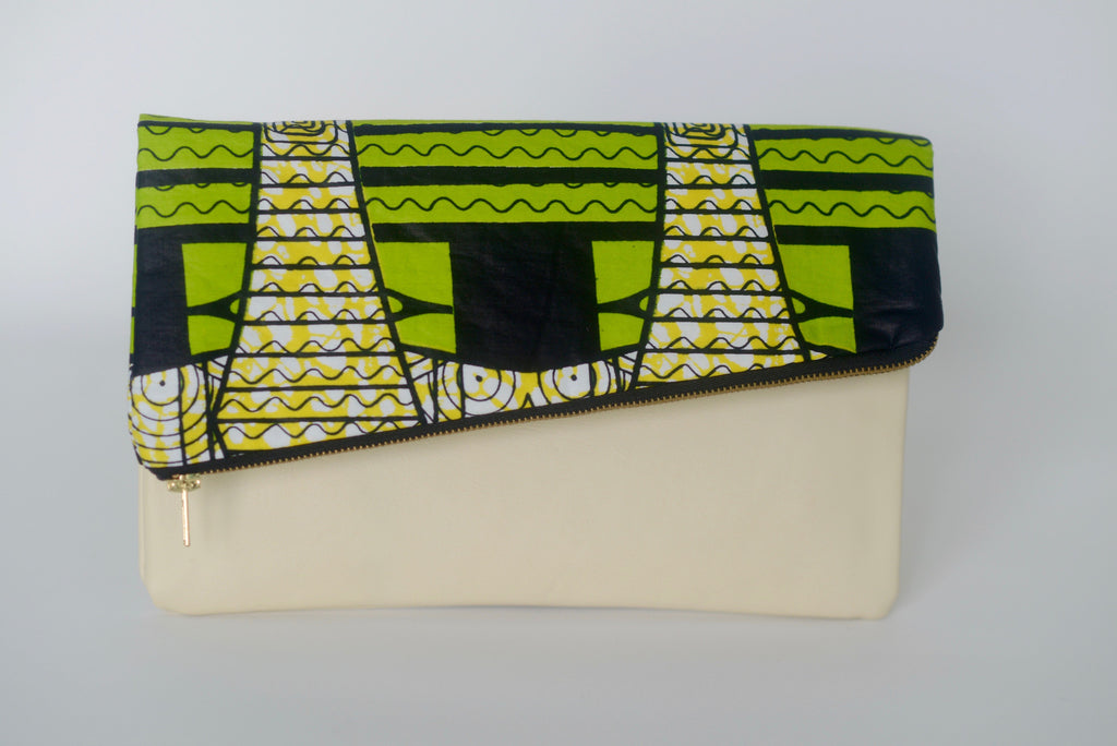 Leather Bottom Udeme (Clutch) - Green/Yellow