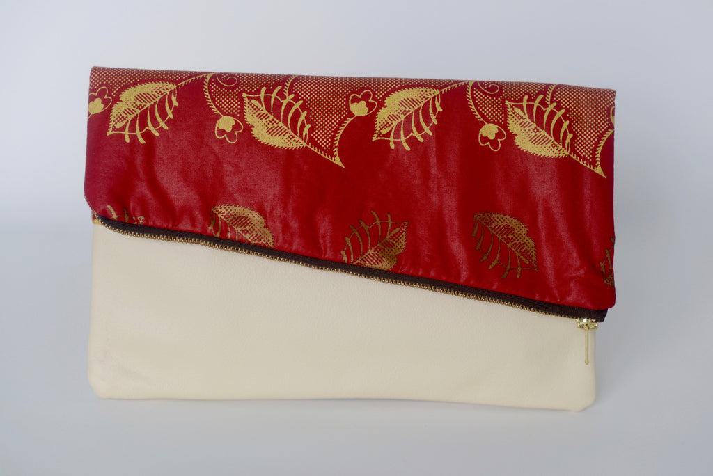 Leather Bottom Udeme (Clutch) - Red/Cream