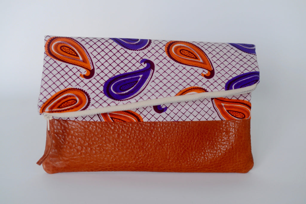 Leather Bottom Udeme (Clutch) - Orange/Purple