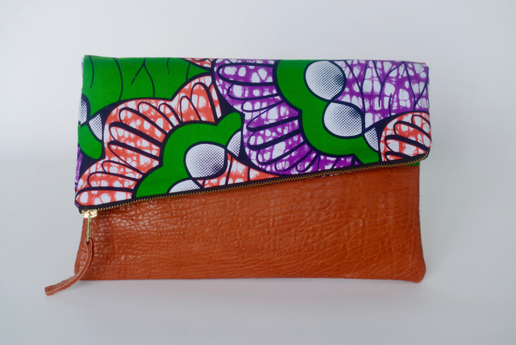 Leather Bottom Udeme (Clutch) - Green/Orange/Purple